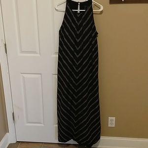 J Crew Black Chevron Linen Maxi Dress